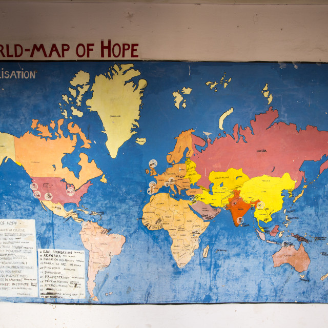 """A world map of hope at the Barefoot College in Tilonia, Rajasthan, India. The..."" stock image"