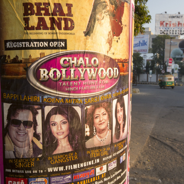 """""""A poster for an talent spotting audition for Bollywood movies in Ahmedebad,..."""" stock image"""