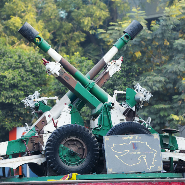 """Indian army artillery in Ahmedabad; India;"" stock image"