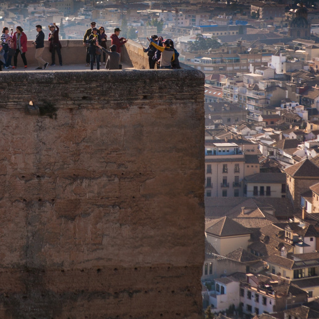 """Tourists in the Alhambra, Granada, Spain"" stock image"