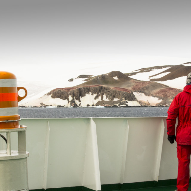 """The Antarctic Peninsular from the deck of the Akademik Sergey Vavilov, an ice..."" stock image"