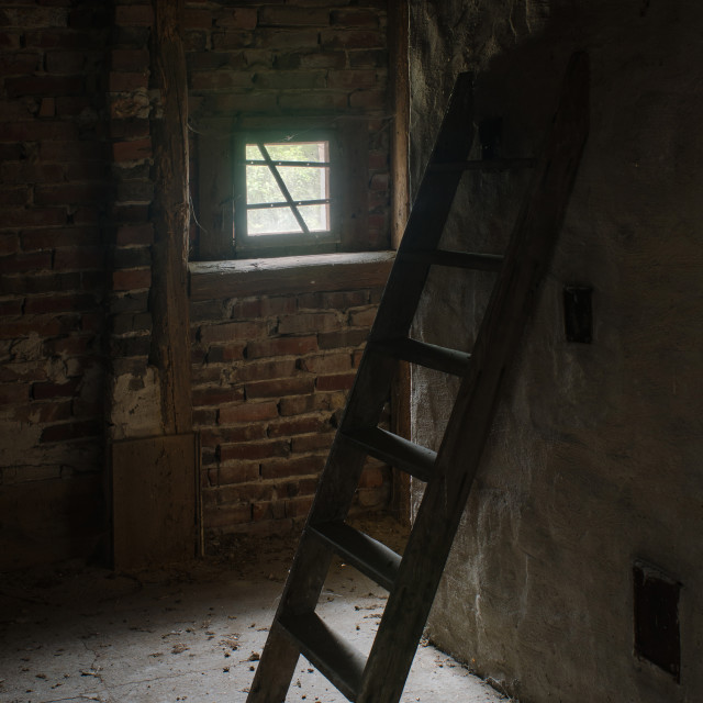"""Old Ladder In The Attic"" stock image"