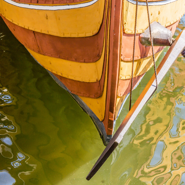"""""""Stern and rudder of a viking ship"""" stock image"""