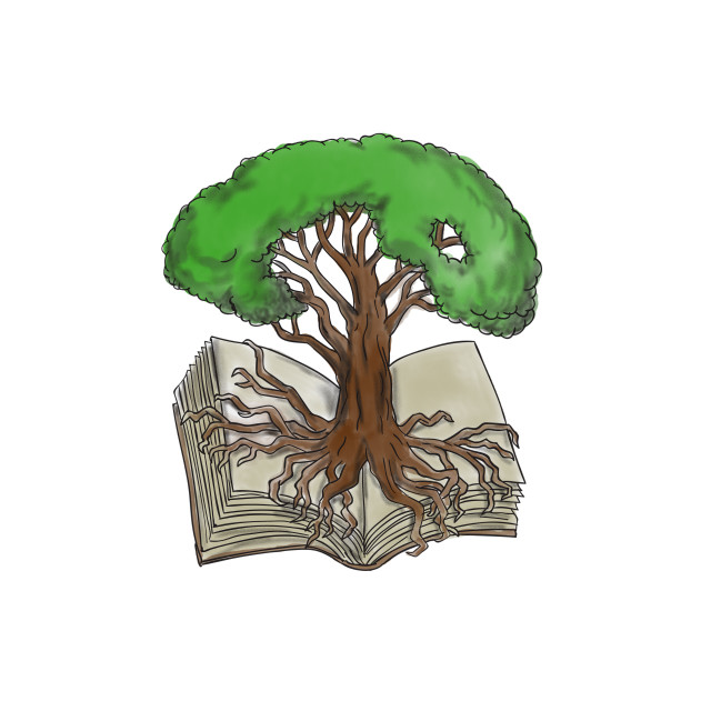 """Tree Rooted on Book Tattoo"" stock image"