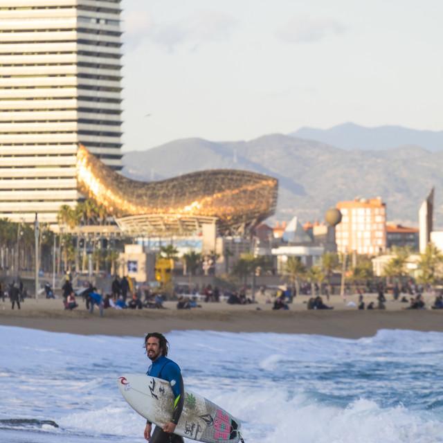 """surfing in the popular beach of Barceloneta"" stock image"