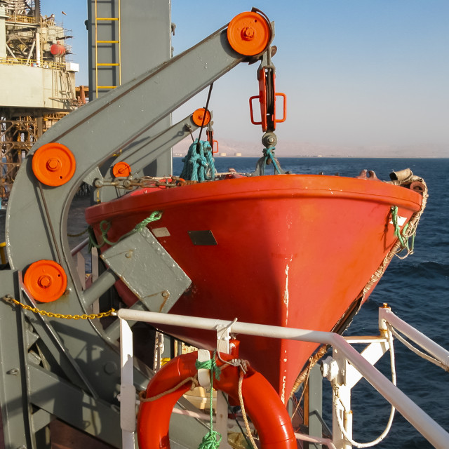 """""""Lifeboat on Supply Vessel"""" stock image"""