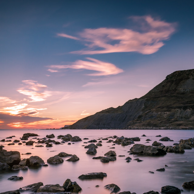 """""""Sunset at Chapmans Pool"""" stock image"""