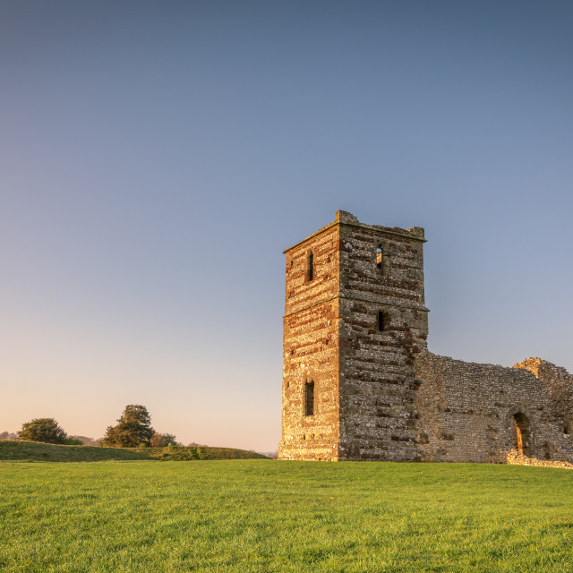 """Sunset at Knowlton Church"" stock image"