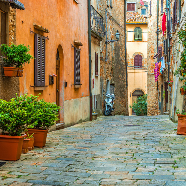 """Beautiful alley in Tuscany, Old town, Italy"" stock image"