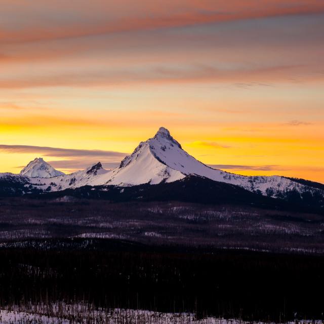 """Colorful Mountain Sunrise"" stock image"