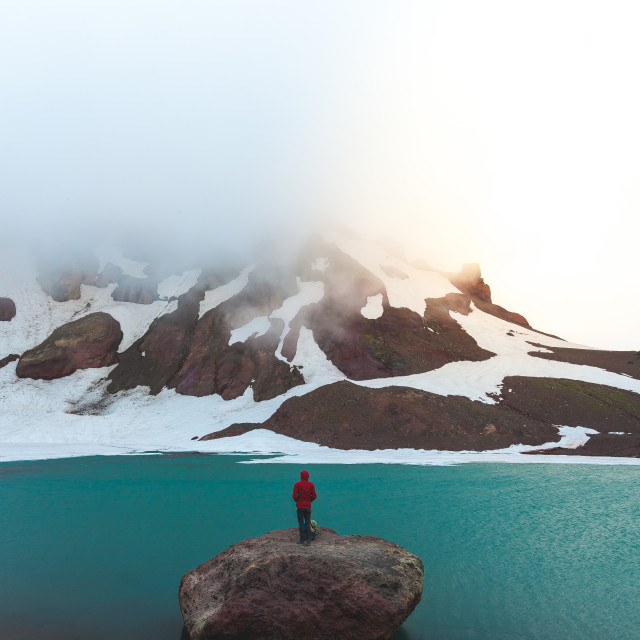 """Staring at Glacial Lake"" stock image"