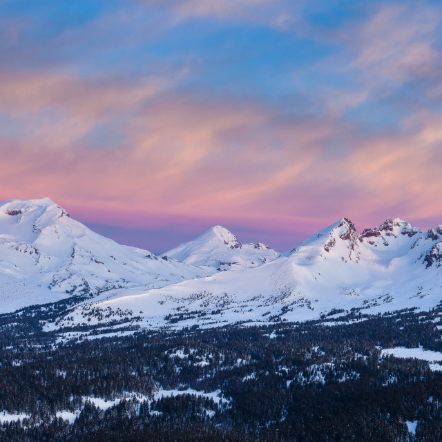 """Three Sisters Mountains Sunset"" stock image"