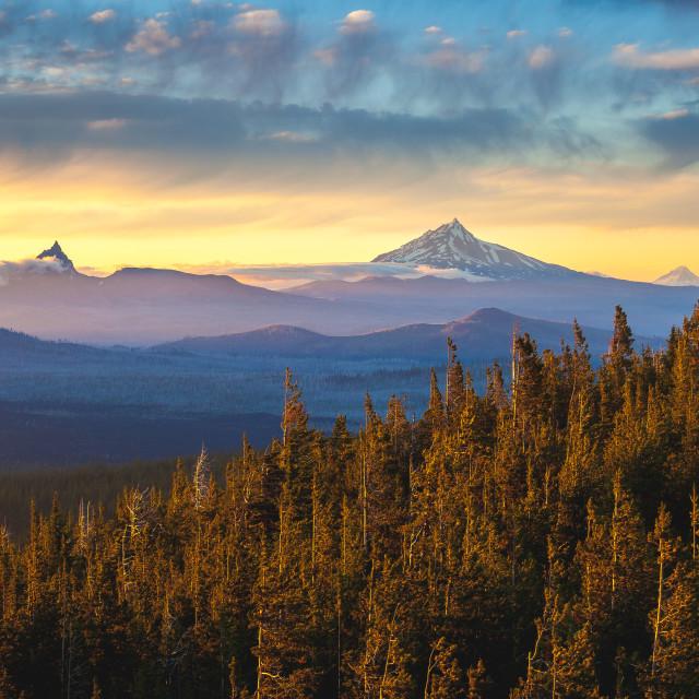 """Mountain Range Sunset"" stock image"