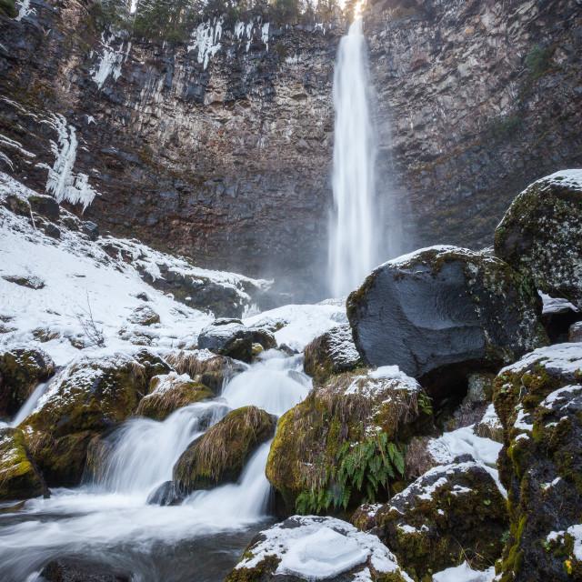 """Snowy Waterfall"" stock image"