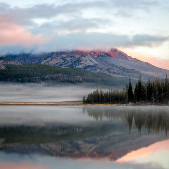 """South Sister Reflection"" stock image"