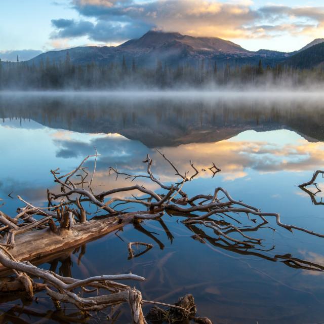 """""""Misty Morning Lake Reflection"""" stock image"""