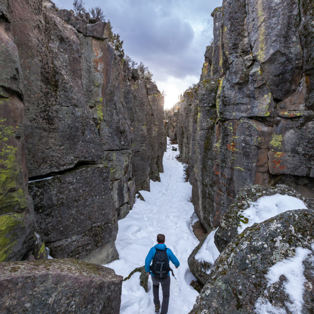 """""""Walking Through Canyon"""" stock image"""