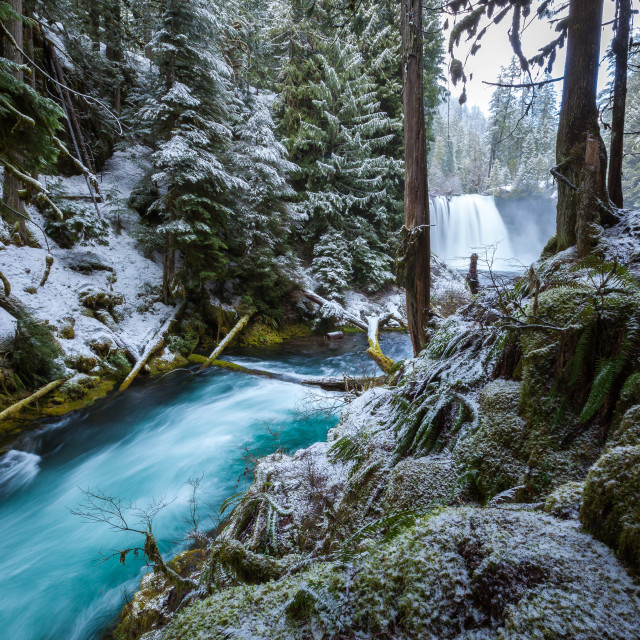 """Snowy Waterfall and River"" stock image"