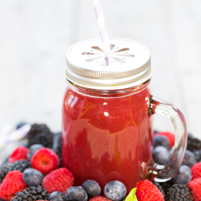 """""""Juice of fruits of the forest"""" stock image"""
