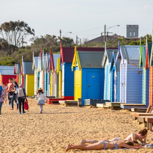 """Brighton Beach Boxes"" stock image"