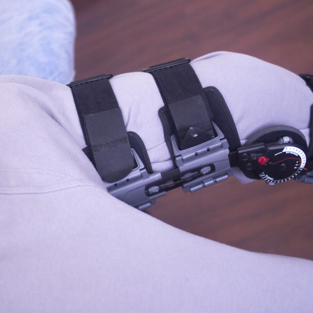 """Injury leg brace support"" stock image"