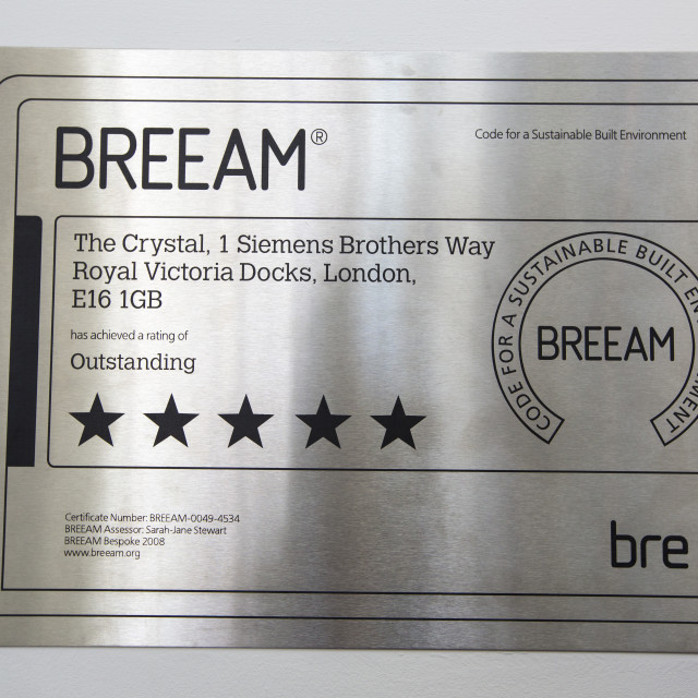 """A BREEAM, (BRE Environmental Assessment Method) oustanding certificate at the..."" stock image"