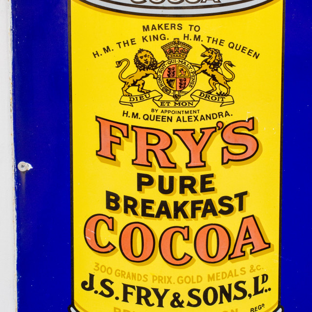 """An old advert for Frys cacoa"" stock image"