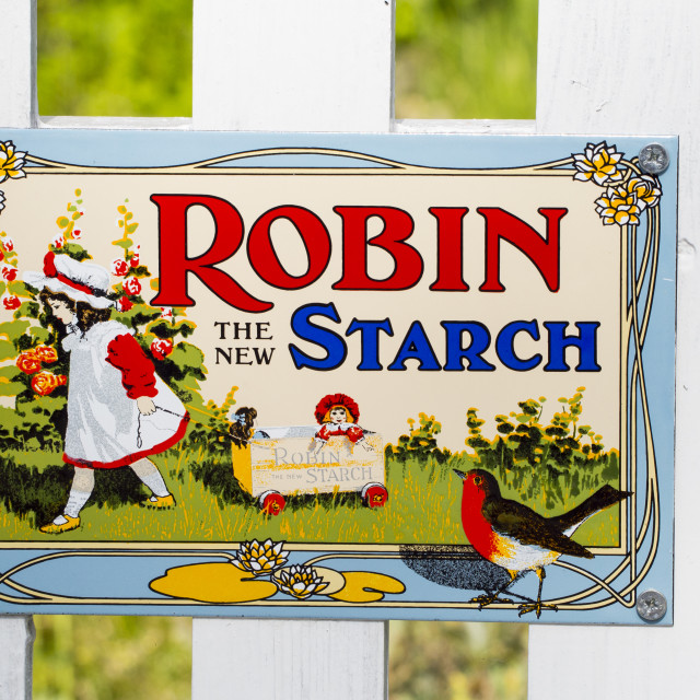 """An old advert for Robin Starch."" stock image"