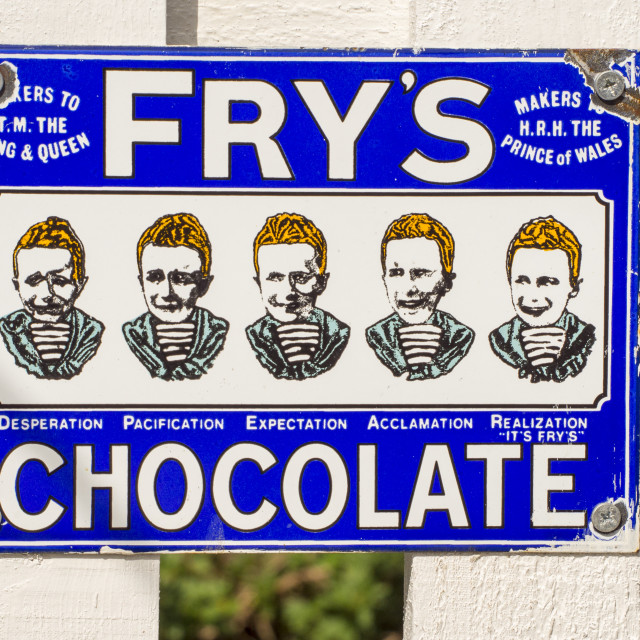 """An old advert for Frys Chocolate,"" stock image"