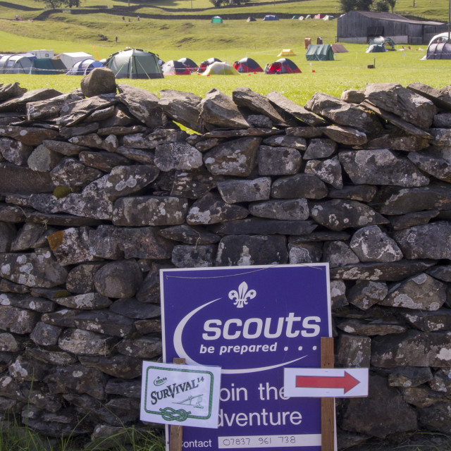 """""""A Scout survival camp at Austwick in the Yorkshire Dales, UK."""" stock image"""