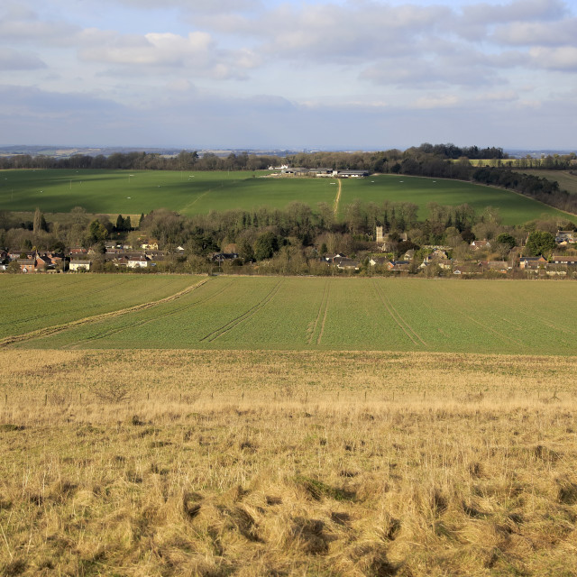 """""""Linear settlement pattern in valley, Cherhill, Wiltshire, England, UK"""" stock image"""