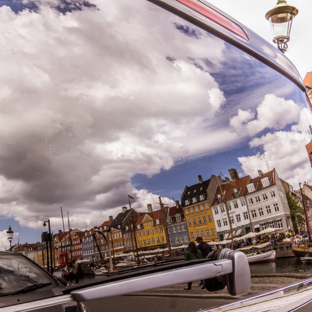 """Reflextion of the harbor Nyhavn In the rear window of a van"" stock image"