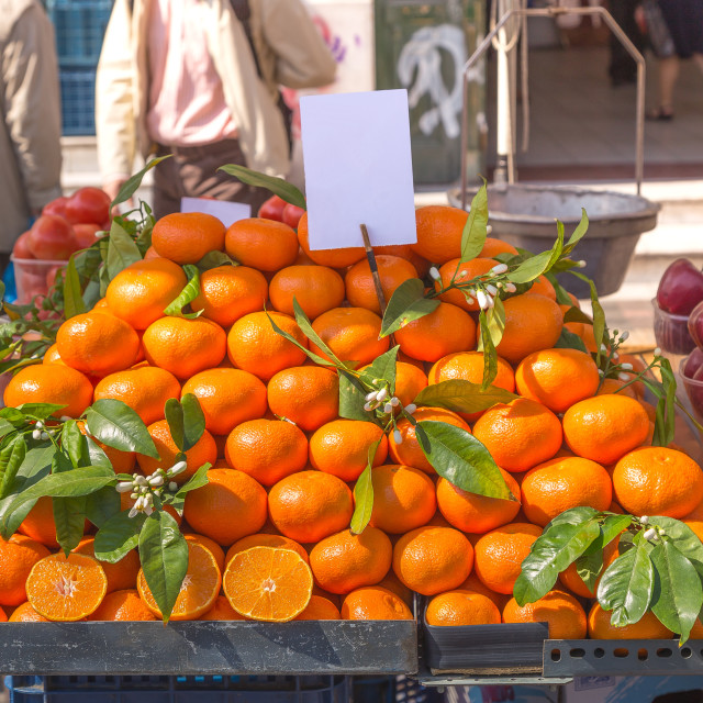 """""""Fresh oranges on a street cart market in Athens, Greece."""" stock image"""