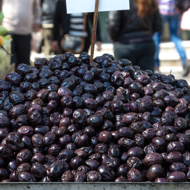 """""""Olives on a street cart market in Athens, Greece."""" stock image"""