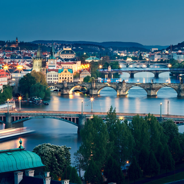 """Prague skyline at dusk"" stock image"