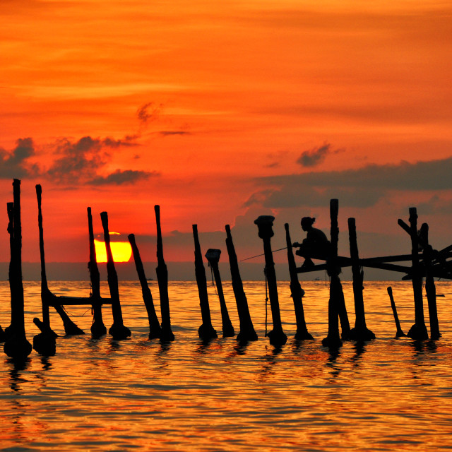 """""""Golden Sunset at the Beach"""" stock image"""