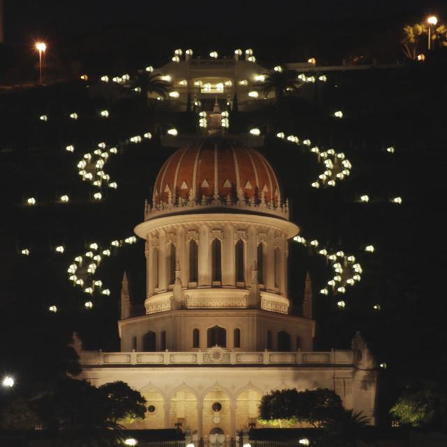 """srael, Haifa, Bahai temple and gardens"" stock image"