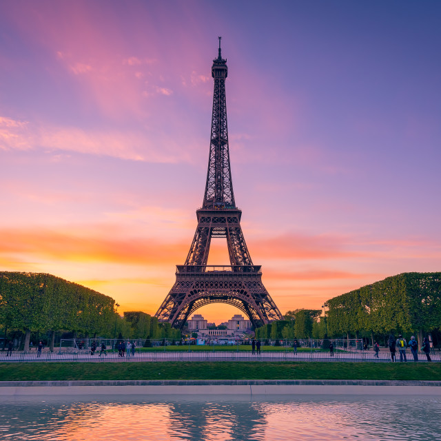 """""""Eiffel tower at sunset"""" stock image"""