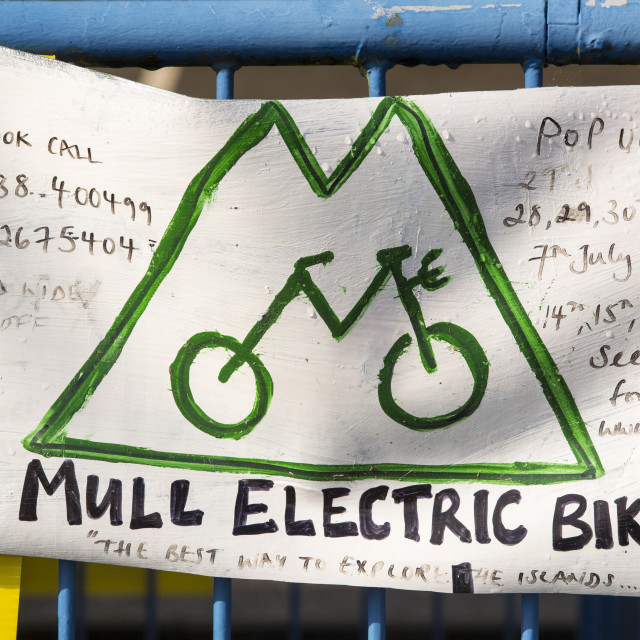 """An electric bike hire company on Mull, Scotland, UK."" stock image"