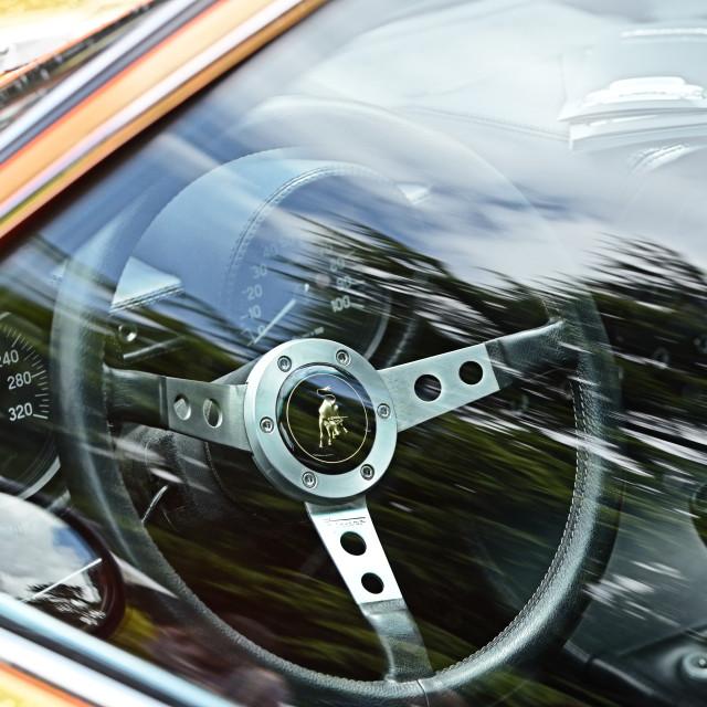 """Lamborghini Miura steering wheel"" stock image"