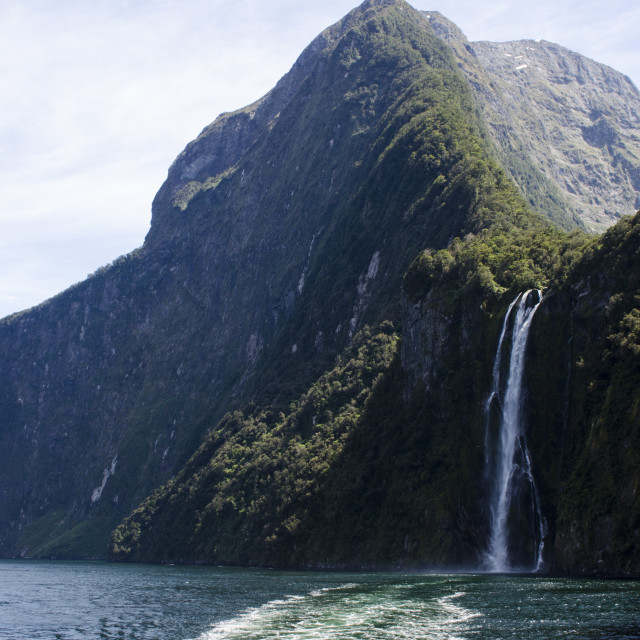 """Milford Sound Waterfall"" stock image"