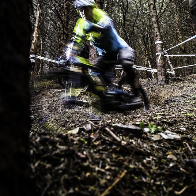 """""""Mountain Biking, Tweedlove Shimano International Enduro, UK"""" stock image"""