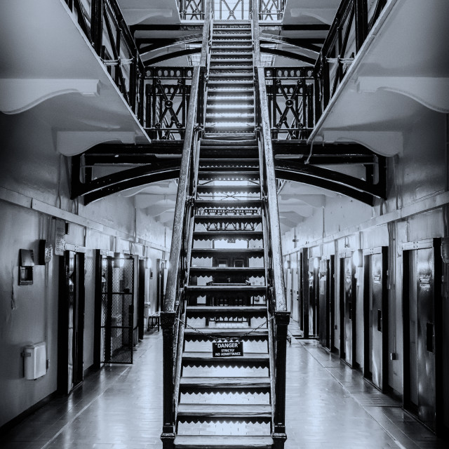 """Prison Staircase."" stock image"