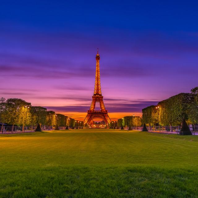 """Champ de Mars and Eiffel tower paris"" stock image"