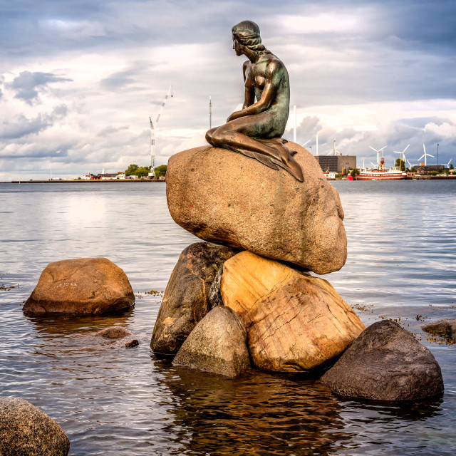 """The Little Mermaid. The Little Mermaid is a bronze statue by Edv"" stock image"