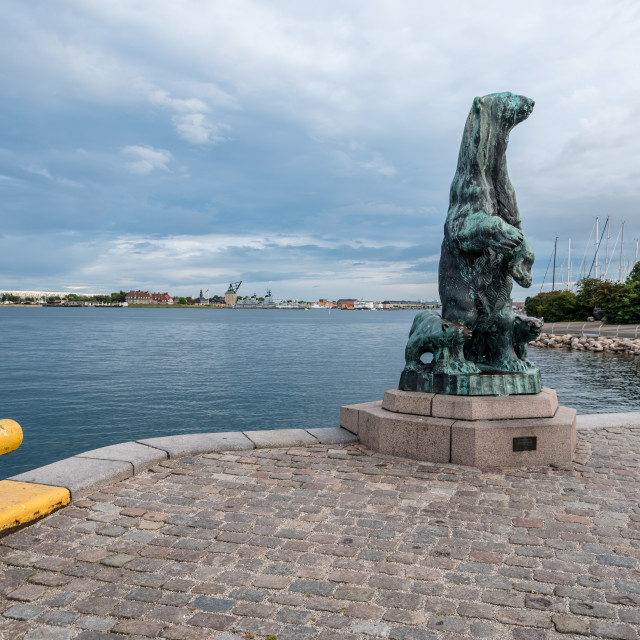 """Polar bear with cubes bronze statue in the port of Copenhagen. T"" stock image"