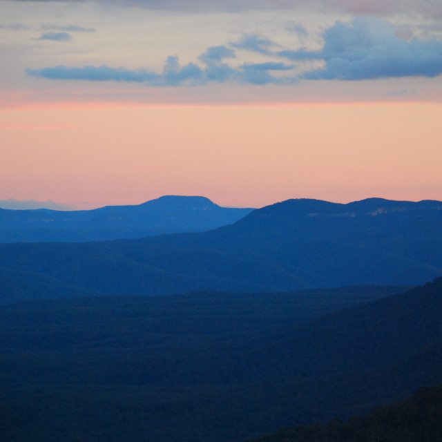 """Sunset in the Blue Mountains"" stock image"