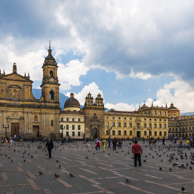 """Bogotá, Colombia - February 6, 2014: View of the Bolivar Square with the Archbishopric Cathedral of Bogotá in the background in the city of Bogotá, Colombia, South America"" stock image"