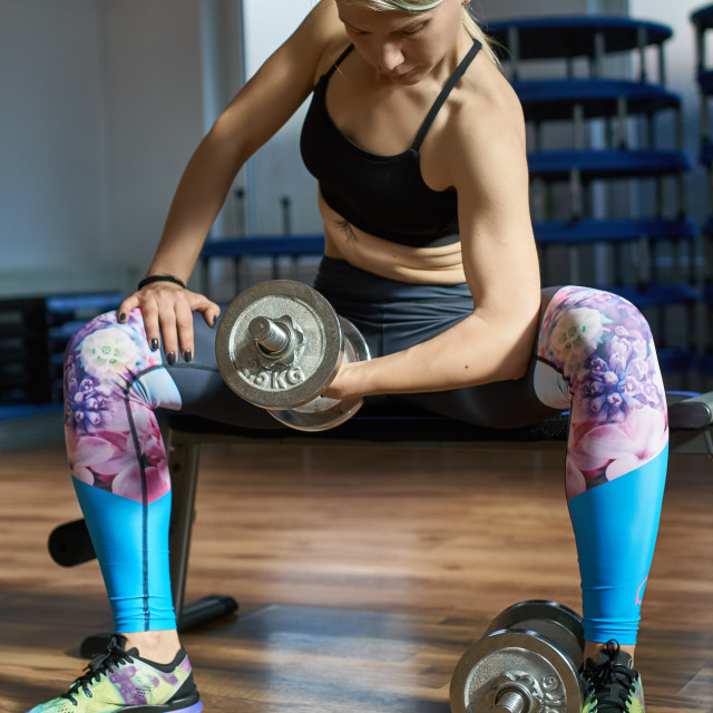 """Woman training biceps"" stock image"