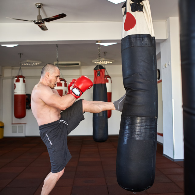 """""""Kickbox fighter with punch bag"""" stock image"""